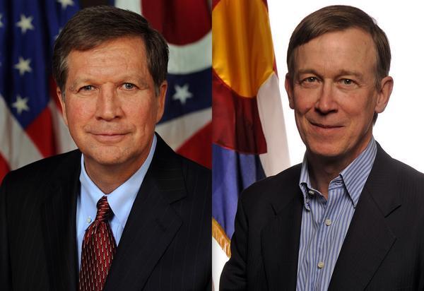 L-R Ohio Governor John Kasich and Colorado Governor John Hickenlooper
