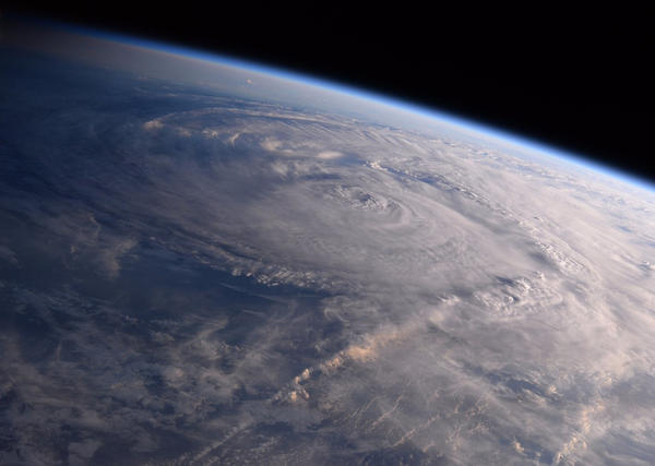 This photo made available by NASA shows Hurricane Harvey over Texas on Saturday, Aug. 26, 2017, seen from the International Space Station. (Randy Bresnik/NASA via AP)