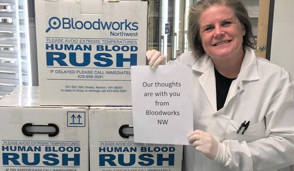 The largest regional blood network, Bloodworks Northwest, sent emergency supplies to Texas last week and again on Monday.