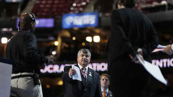 Richard Trumka, president of the AFL-CIO, stands on stage during a walk-through, as he prepares to appear during the 2016 Democratic National Convention in Philadelphia, Ps., on July 25, 2016.
