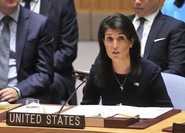 United Nations U.S. Ambassador Nikki Haley addresses a U.N. Security Council meeting on North Korea, Monday Sept. 4, 2017 at U.N. headquarters. (Bebeto Matthews/AP)