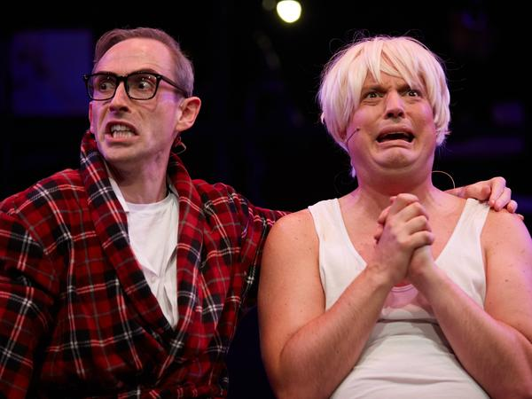A scene from<em> Brexit: The Musical</em> shows British conservative politicians Michael Gove (at left played by James Dangerfield) and Boris Johnson (James Witt) the day after a majority of Britons voted to leave the European Union.