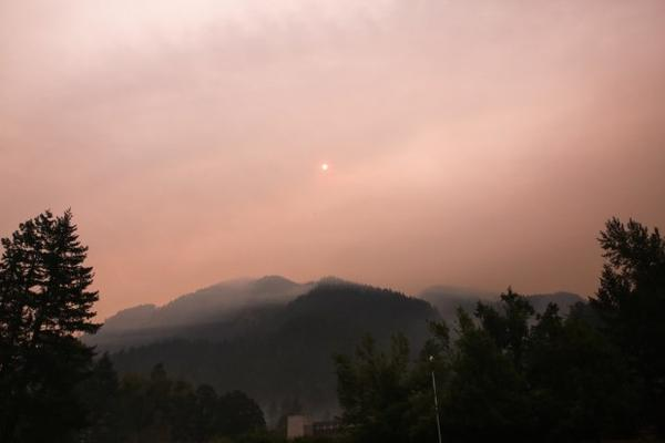 <p>Wildfire smoke from the Indian Creek and Eagle Creek wildfires in the Columbia River Gorge fills the air at the Bonneville Dam Sunday, Sept. 3, 2017.</p>