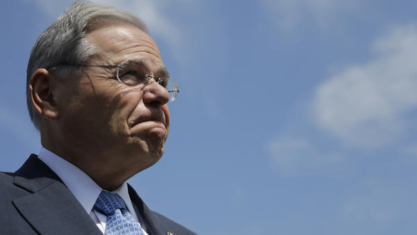 Sen. Bob Menendez fields questions about his corruption trial last month in Union Beach, N.J.