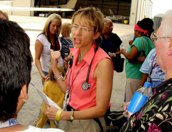 Berggren and her patients and colleagues waited for days to be evacuated from Charity Hospital, which was surrounded by floodwaters from Hurricane Katrina.