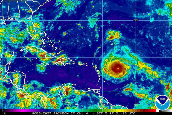 This Monday, Sept. 4, 2017, satellite image provided by the National Oceanic and Atmospheric Administration shows Hurricane Irma nearing the eastern Caribbean. (NOAA via AP)
