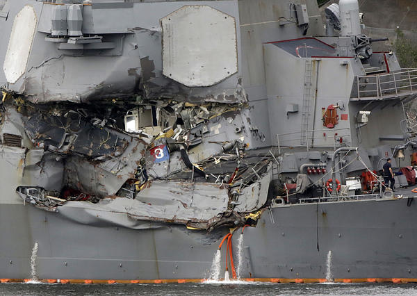 The USS Fitzgerald was badly damaged in a June 17 collision with a container ship off Japan. In addition to the damage above the water line, the ship was hit below deck. The living quarters were flooded and seven sailors died.