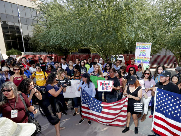 DACA supporters in Phoenix protest outside the Immigration and Customs Enforcement office shortly after the announcement that DACA would end in six months, barring action by Congress.