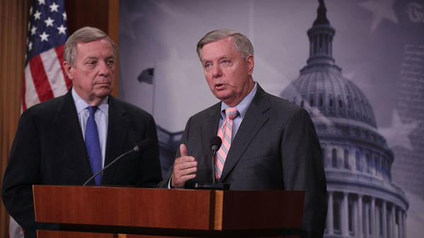 Sens. Lindsey Graham, R-S.C., and Dick Durbin, D-Ill., spoke about their Dream Act to help protect DACA recipients at a press conference on Tuesday.
