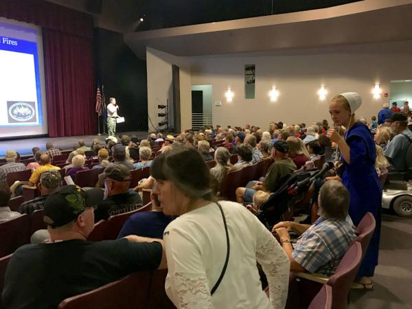 About 300 people attended Monday's meeting on the Caribou and Gibralter Ridge Fires at the Lincoln County High School in Eureka Sept. 4, 2017. The fires have forced multiple evacuation orders and burned at least 10 homes.
