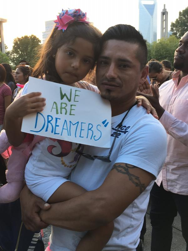 DACA recipient 31-year-old Victor Salazar and his six-year-old U.S. citizen daughter Alexa came to Marshall Park in Uptown Tuesday night.