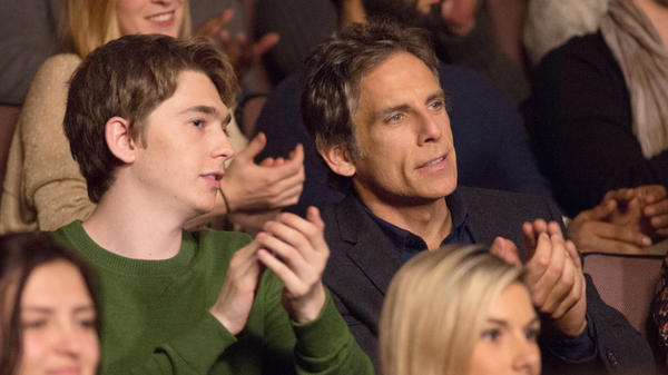 In <em>Brad's Status</em>, a father (Ben Stiller, right) takes his son (Austin Abrams) on a college tour and starts thinking about his own college friends, who are much more successful that he is.