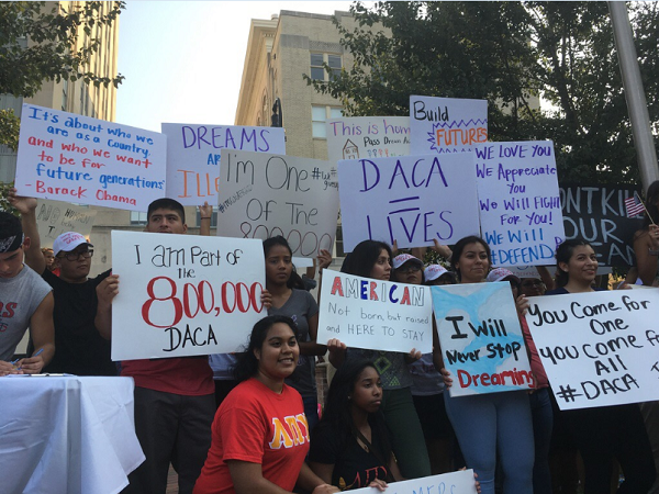 Attendees at a DACA rally in Durham on Monday, September 5.