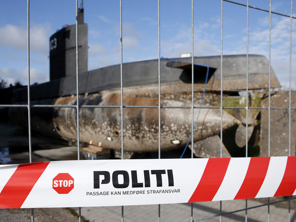 Peter Madsen's private submarine sits on a pier in Copenhagen harbor. The Danish inventor faces a murder charge after Swedish journalist Kim Wall died aboard the sub under mysterious circumstances last month.