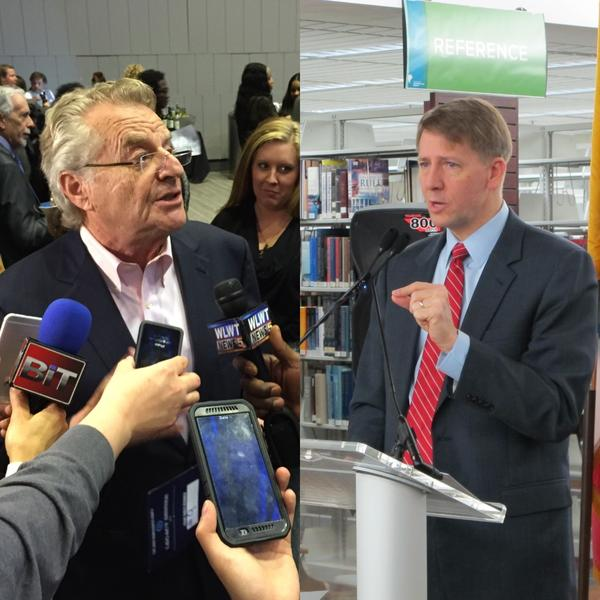 (left) Jerry Springer, (right) Richard Cordray
