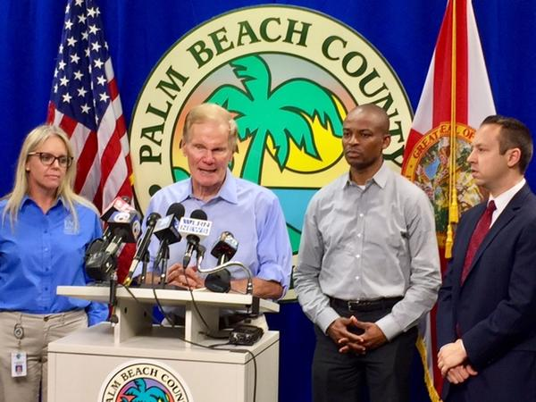Florida Sen. Bill Nelson speaks to reporters on disaster preparation ahead of Hurricane Irma at the Palm Beach County Emergency Operations Center on Sept. 6, 2017.