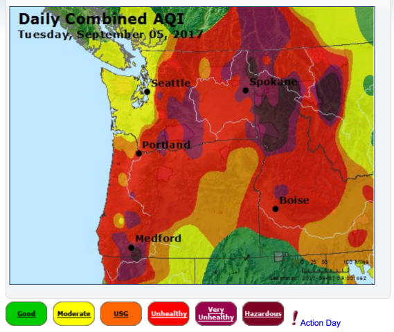 <p>Screenshot of the EPA's AirNow.gov map of the Air Quality Index for Washington and Oregon on a day when particulate from wildfires was especially abundant.</p>