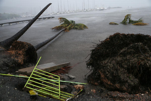 Bits of debris are strewn near the Puerto Chico Harbor in Fajardo, Puerto Rico, as Hurricane Irma hit the U.S. territory.