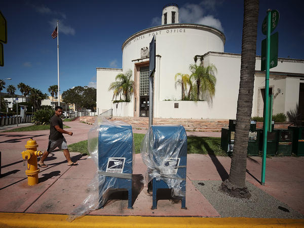 Mailboxes have been wrapped in plastic as Miami Beach prepares for Irma.