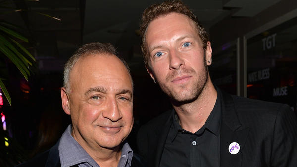 Len Blavatnik, left, with Chris Martin of Coldplay in 2014.