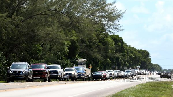 A steady stream of traffic heads north on Overseas Highway as mandatory evacuations continue in Monroe County and the Florida Keys on Sept. 6, 2017. (Marc Serota/Getty Images)