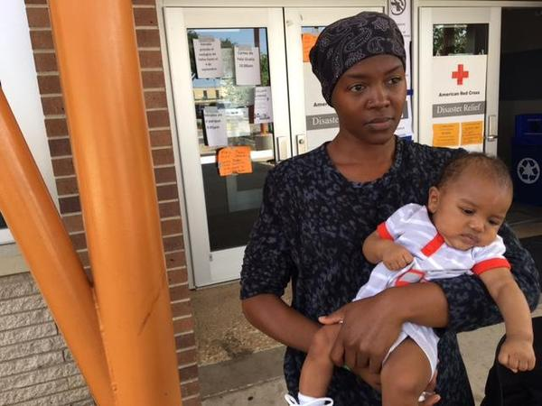 Hermanique Lowe and her 3-month-old Jamier fled Galveston County in advance of the storm. (Courtney Collins/KERA)