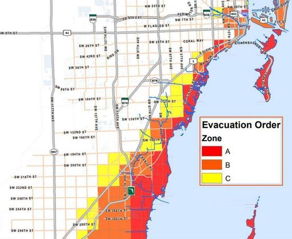Part of the Miami-Dade evacuation order map based on zones vulnerable to hurricane storm surge.