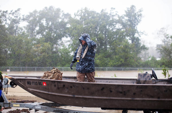 Ted Middleton prepares to launch his boat from Highway 90 in northeast Houston.