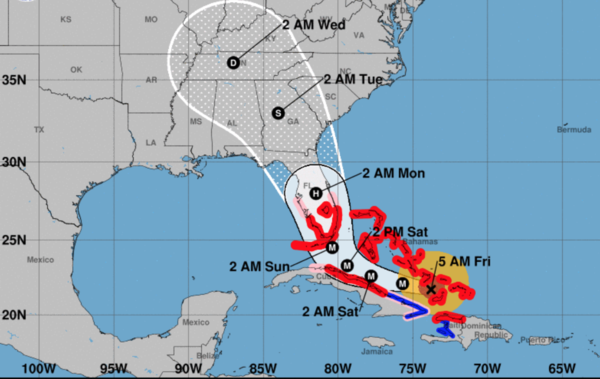 Projected path of Hurricane Irma as of 5 a.m. Sept. 8. (M on the map means Major Hurricane; S is Tropical Storm.)