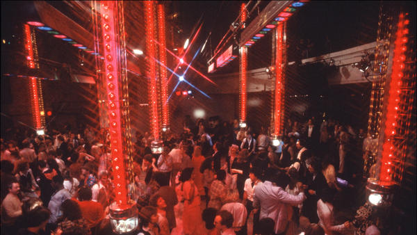 Clubgoers amid the light towers on the dance floor at Studio 54 in 1978.