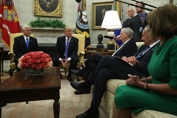 President Donald Trump  and Vice President Mike Pence meet with Senate Majority Leader Sen. Mitch McConnell, Senate Minority Leader Sen. Chuck Schumer and House Minority Leader Rep. Nancy Pelosi in the Oval Office.