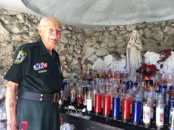 Emil LaVache, 88, was one of many Keys people stopping by the Grotto at Basilica of St. Mary Star of the Sea