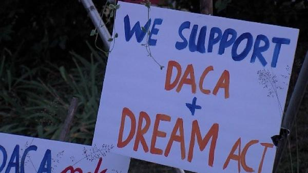 One of the signs from a DACA rally in Carbondale on Tuesday, Sept. 5, 2017..