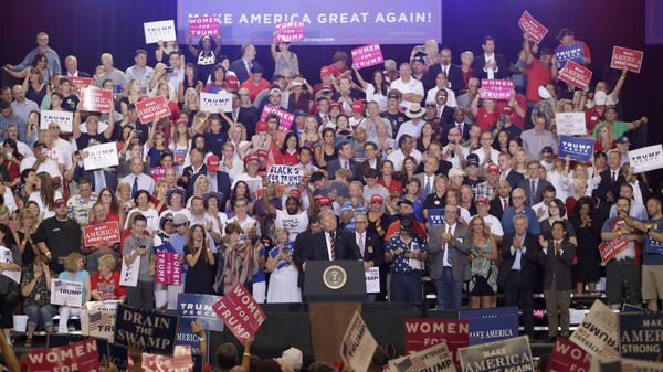 President Donald Trump speaks at a rally Aug. 22, 2017, in Phoenix, Ariz.