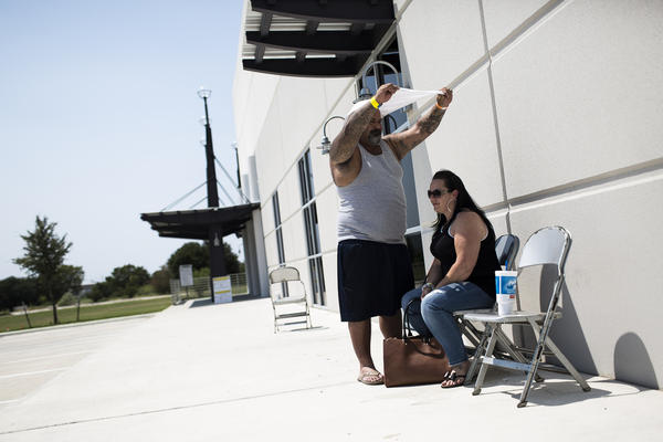 Ramiro and Wendy Rivera, who lost their trailer home in Aransas Pass during Harvey, are staying at a shelter in Southeast Austin. They say they plan to stay.