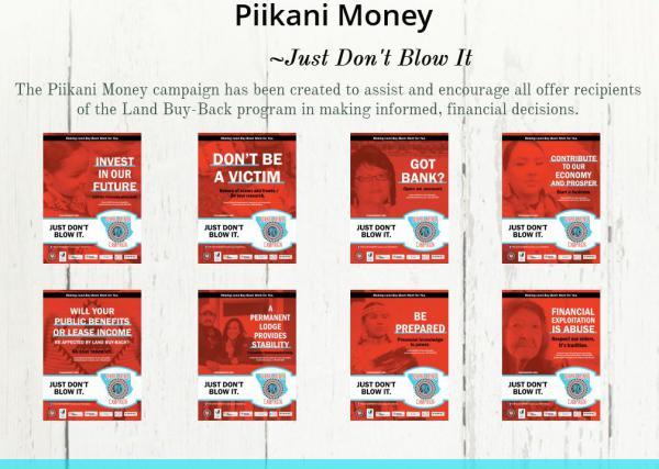 Screen capture from the Piikani Money Campaign website http://www.piikanimoney.org.