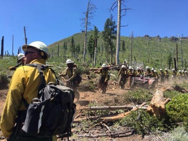 <p>A hand crew moves to a new section of line on the south flank of the Ana Fire near Summer Lake, Oregon, on Wednesday, July 12, 2017.</p>