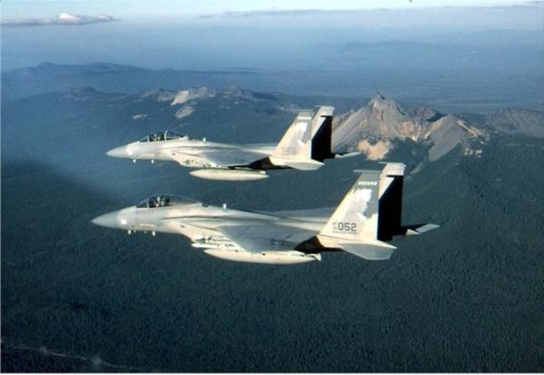 <p>Two F-15 jets from the Kingsley Air Field fly over Southern Oregon.  </p>