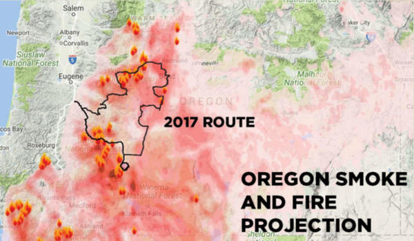 <p>A map released by Cycle Oregon showing how wildfires interfered with its scheduled ride in 2017, leading to cancelation of the event.</p>