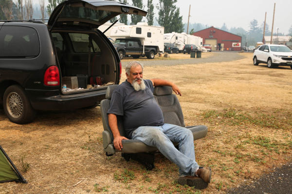 """<p>Robert Loomis moved to Cascade Locks not even a month ago from Hood River. Last weekend, was forced to leave his apartment. """"Just my luck. I'm there for a month and they evacuate us,"""" he said.</p>"""