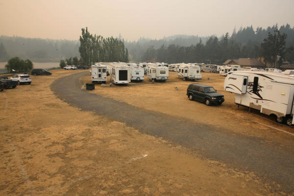 <p>An emergency shelter in Stevenson, Washington, for evacuees of Columbia River Gorge fires.</p>