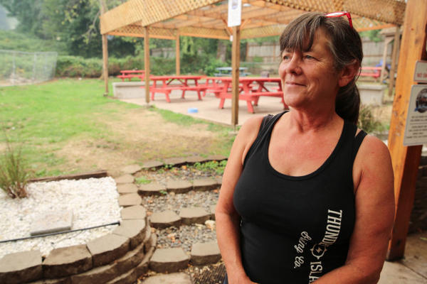 <p>Cascade Locks resident Cathy Perez, has all her stuff packed by her front door, ready to evacuate. She says the town is taking a financial hit as 60 percent of its income usually comes in during the summer.</p>