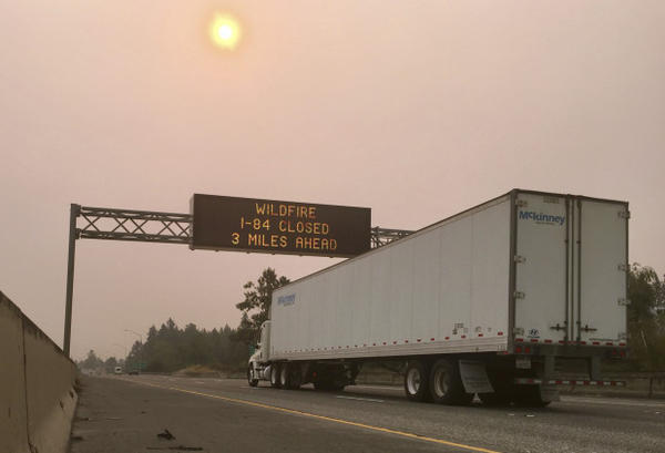 <p>A sign warns of a highway closure on Interstate 84 in Troutdale, Ore., Tuesday, Sept. 5, 2017.</p>