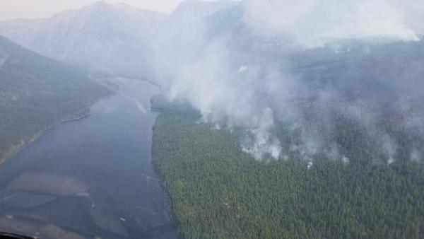 The Adair Peak Fire in Glacier National Park Sunday