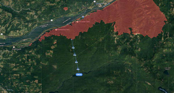 <p>The Eagle Creek Fire was burning less than 5 miles from Bull Run Reservoir 1 as of Thursday, Sept. 7, 2017.</p>