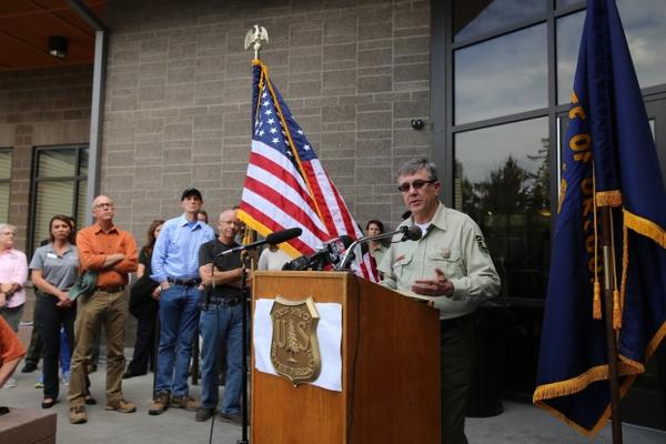 <p>Head of the U.S. Forest Service Tony Tooke speaking at a press conference in Troutdale Sept. 9, 2017.</p>