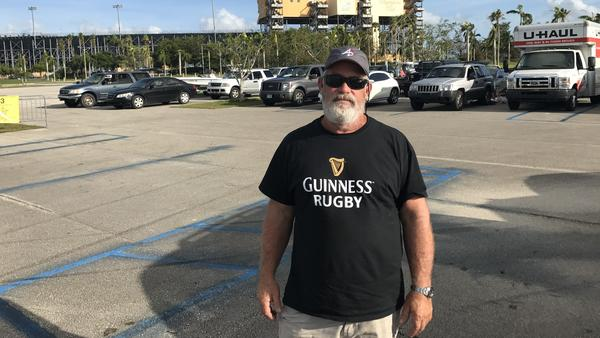 Mark Schweiss is camped out in his RV at a racetrack parking lot, waiting to get back to his home in the Florida Keys. He has lived in the Keys for 42 years and is frustrated that he is not allowed to return.