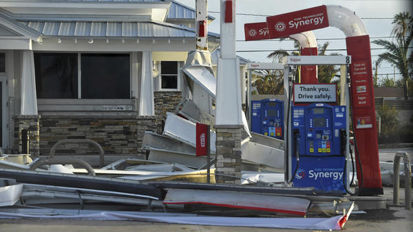 Debris lies on the ground of a Florida Keys gas station Monday in the aftermath of Hurricane Irma.