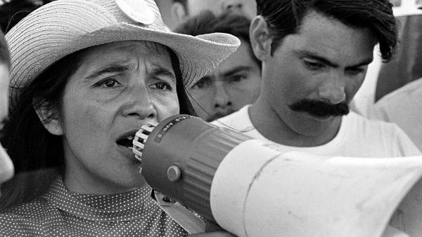 Coachella, CA: 1969.  UFW leader, Dolores Huerta, organizing marcher on 2nd day of March Coachella.