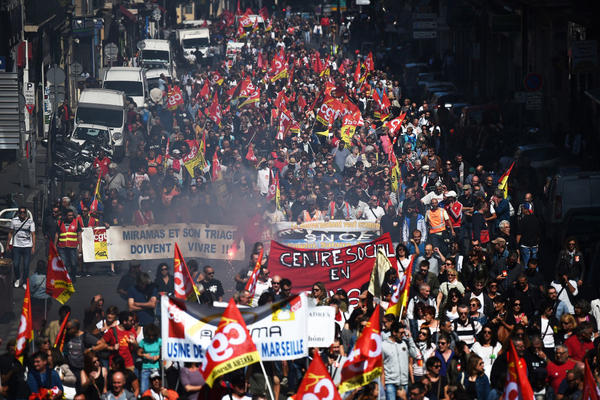Crowds flood the streets in Marseille, France, to protest proposed changes to the country's 3,500-page labor code.